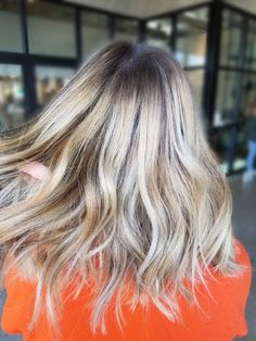 Light blonde balayage with root smudge