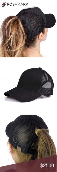 22375035 🆕Black C. C. High ponytail cap ⭐️SHIPS SAME/NEXT DAY ⭐️USE BUNDLE FEATURE.  Girls GolfHigh ...