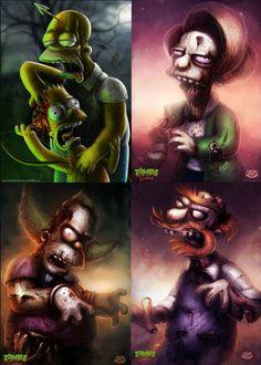 Zombie Simpsons by Dan Osborne Zombie Cartoon, Zombie Disney, Cartoon Man, Simpsons Tattoo, Simpsons Drawings, Simpsons Characters, Classic Cartoon Characters, Horror Art, Horror Movies