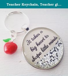 """Teacher Keychain, Teacher gift, """"It takes a big heart to shape little minds"""". This made to order personalized teacher keychain makes a great gift for the special teacher in your life. It measures 1.5"""" around and comes as seen with an adorable enamel apple charm, in silver finish."""