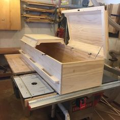 Casket, coffin, call it what you like. I prefer the term coffin but technically this is a casket. Just a few photos of the latest pine casket I've come up with a customer who happens to be planning ahead. More photos of the build process are on my. Woodworking Bench Plans, Woodworking Projects, Wooden Crafts, Wooden Diy, Pet Caskets, Funeral Caskets, Burial Urns, Bed Frame Design, Welding And Fabrication