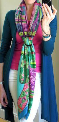 Hermès cashmere shawl (Ceintures et Liens) in a vertical slide knot - MaiTai's Picture Book <3