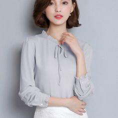 Women's Chiffon Blouse Long Sleeve Ruffle Collar Fashion Top