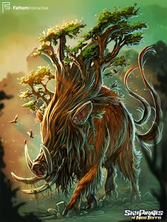When the mighty TreeBoar stomps through the Great Woods, no other beast dares to stand in its way. #Art #Artwork  #Illustration #CamilladErrico #Monster #SocialGames #GameArt #GameDev  #Creature #Boar #Nature
