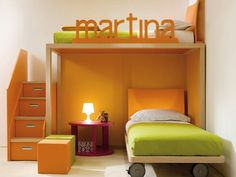 Bunk bed rail customized with name