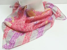 Vintage Vibrant Colored Floral Scarf from Italy by GrammysGoodys, $9.00