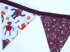 Robot Flag Bunting Banner / 8 Large Fabric Flags / by SSKDesigns, $30.00