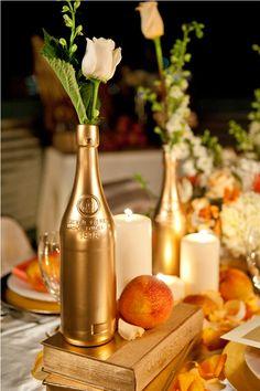 Spray paint bottles, books, etc for an elegant dinner party.