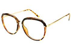 High Fashion Retro Style Clear Lens Round Glasses Light Tortoise R1734