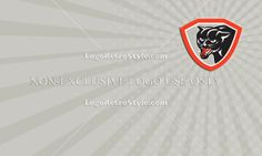 Black Cat Panther Head Shield Business card Logo-Illustration