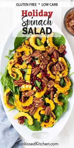 A hot holiday salad - Delicata squash spinach salad with bacon dressing, topped with pomegranate and pecans. Good Healthy Recipes, Healthy Salad Recipes, Healthy Eats, Real Food Recipes, Hot Bacon Dressing, Honey Mustard Dressing, Delicata Squash Roasted, Bacon Spinach Salad, Fried Shallots