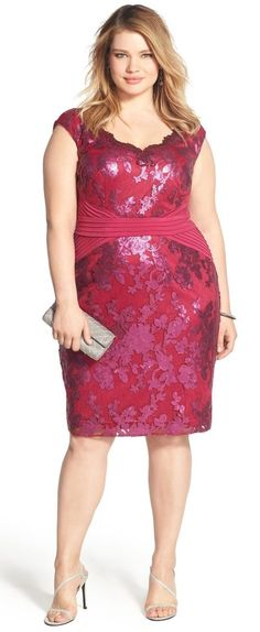 Plus Size Pintuck Jersey & Sequin Lace Sheath Dress