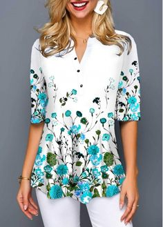 White Floral Print Half Sleeve Shirt For Women Over 40 Split Neck Button Front Flower Print Blouse Blouse Styles, Printed Blouse, Half Sleeves, Short Sleeve Blouse, Floral Chiffon, Blouses For Women, Cheap Blouses, Shirt Blouses, Casual Outfits
