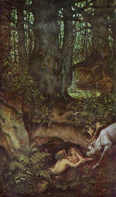 """Moritz von Schwind (Ausstrian, 1804-1871). Nixen, einen Hirsch tränkend, c. 1846. (This translates into something like """"Water sprites & drinking stag,"""" although the """"einen"""" confuses me in that context)."""