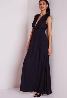 Missguided - Sleeveless Plunge Maxi Dress Black