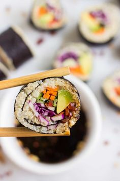 EASY QUINOA SUSHI -- with a blend of cauliflower rice + quinoa for a light and healthy spin on this traditional recipe!