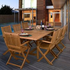 Have to have it. Amazonia Hamburg Teak Dining Set - Seats 8 - $2118.98 @hayneedle.com