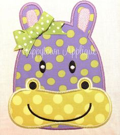 Hippo Machine Embroidery Design by HappytownApplique on Etsy