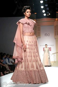 Powder pink lehenga with ruffled choli by Shantanu Nikhil