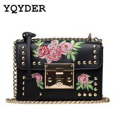 416d48938 R$ 59.65 55% de desconto Mulheres Bordados Flor YQYDER Flap Bag Designer PU  Couro Moda Rivet Messenger Bags Feminina Senhoras Pequena bolsa de Ombro  Bolsa ...