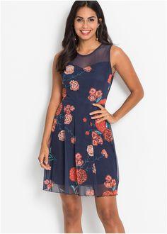 55103419adc1 Beställ Blommig nätklänning mörkblå nu från 349.- kr i online-butiken på  bonprix