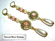 Ivory Pearl Wedding Jewelry Pink Pearl Wedding Earrings Pearl Bridal Earrings Handfasting Jewelry Gold Wedding Jewelry Tudor Renaissance by AngiePinkal