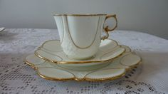 SUPERB AYNSLEY WHITE GOLD CUP SAUCER PLATE TRIO VINTAGE C1900 RARE Rd 334379