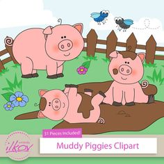 Premium 31pc Pigs In Mud Clipart For Digital Scraps Crafts Cards Web