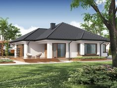 Projekat moderne prizemne kuće s garažom – Hipokrates One Level House Plans, Single Storey House Plans, House Layout Plans, My House Plans, Bungalow House Plans, House Layouts, Village House Design, Country House Design, Kerala House Design