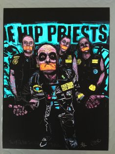 """Large 12""""x16"""" Signed and numbered giclée art print of my original painting of 'The Hip Priests' This will be a strictly limited print run of 25. Professional giclée art prin..."""