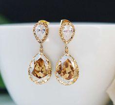 Golden Shadow Swarovski Crystal Oval drops in gold plated bezel frame.