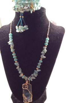 Amazonite bangle wrap bracelet, amazonite chip earrings and wire wrapped labradorite pendant on gold beading wire with amazonite and gold beads. In my Etsy shop