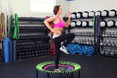 Cardio Workouts Just bought mini trampoline. - How long has it been since you jumped on a trampoline? Well it's time to channel your inner child during your workouts by adding a rebounder into the mix. Mini Trampoline Workout, Rebounder Trampoline, Best Trampoline, Backyard Trampoline, Rebounder Workout, Trampolines, Pilates, Benefits Of Cardio, Trainer