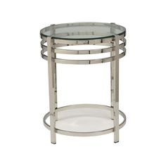"""Ethan Allen - Nickel Side Table  $399  Dimensions: 18""""dia x 21""""h Item#: 422014  Made of steel and glass Polished nickel finish Round tempered glass top"""