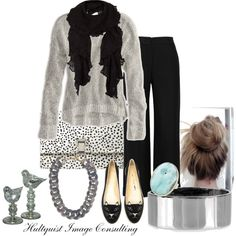 """Cozy up into Fall"" by hultquist on Polyvore  Romantic and playful while cozy and comfortable describes this look. I put together a grey sweather and basic black pants, a ruffle edge scarf when the sun goes down and accessorized this with a grey chain necklace, silver cuff, blue stone ring and ""meow"" kitty cat loafers. To finish it off I dress it up with a dalmatian print clutch. Try something new and make it yours."