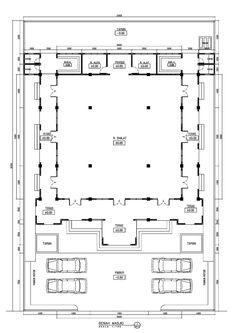 Mosqueplan1 Residential Building Plan, Bridge Structure, Cad Library, Islamic Center, Mosque Architecture, Prayer Room, Dream House Plans, Facade House, Plan Design