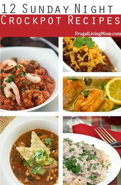12 Great Crockpot Meals for Sunday Dinner.  Need some ideas for weeknight or weekend slowcooker meals?  Here are 12 fabulous meals that that whole family should love. Make sure to check them out.
