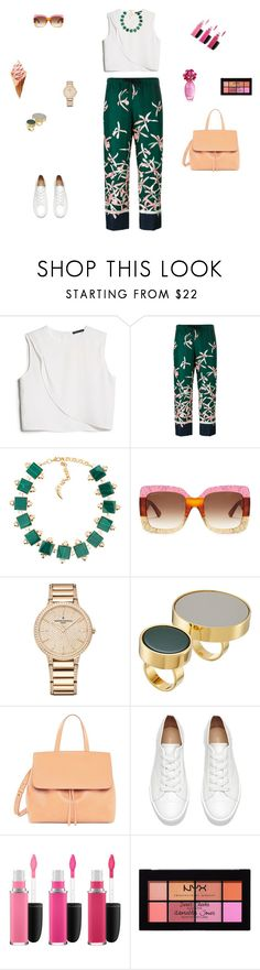 """""""Floral trouses"""" by mariagraziatrotta ❤ liked on Polyvore featuring MANGO, Moncler, Gucci, Vacheron Constantin, Marni, MAC Cosmetics and NYX"""