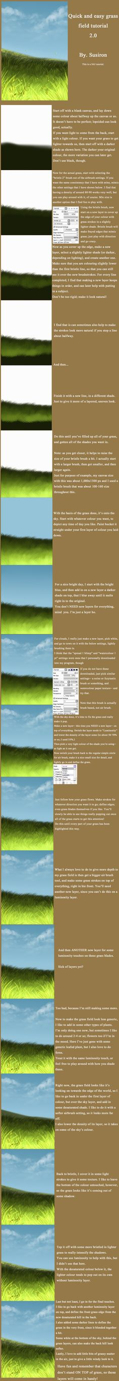 Easy Grass Field SAI Tutorial 2.0 by ~Susiron