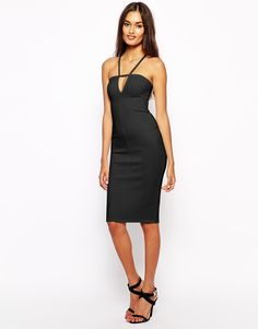 Oh My Love Dress with Plunge Neck (Black) Size:M at ASOS RRP £35.00