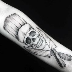60 Chef Knife Tattoo Designs For Men - Cook Ink Ideas Cool Chef Knife Skull Male Arm Tattoo Designs Tattoos 3d, Tattoos Arm Mann, Arm Tattoos For Guys, Skull Tattoos, Body Art Tattoos, Koch Tattoo, Cooking Tattoo, Tattoo Bras Homme, Culinary Tattoos