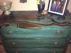 Pinterest inspired dresser makeover. Stain over paint technique with custom design on top.  Follow link for my source tutorial.  Love this piece.  More to follow!