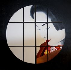 geisha painting  kimono  oil on canvas 90x90 cm  1800€