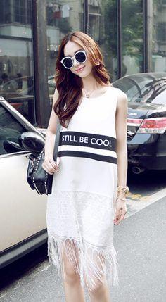 Fashiontroy Street style sleeveless crew neck white letter printed fringe cotton blend mini dress