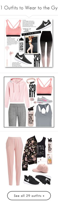 """""""21 Outfits to Wear to the Gym"""" by polyvore-editorial ❤ liked on Polyvore featuring waystowear, gymoutfits, i.am+, Pepper & Mayne, NIKE, Victoria's Secret, Fitbit, Under Armour, Sweaty Betty and Vetements"""