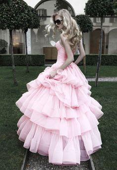 Floor Length Sweetheart Strapless pink Tulle Sheath A-line wedding Dress Pink Wedding Dresses, Prom Dresses, Formal Dresses, Wedding Gowns, Dress Prom, Frilly Dresses, Dresses 2013, Formal Prom, Wedding Bride