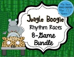Students will boogie down in these races to find different rhythm patterns. Each game in this bundle comes with 6 animal teams, colored printables, black and white printables, and animal-themed flash cards.