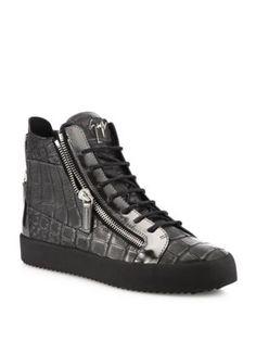 GIUSEPPE ZANOTTI Metallic Leather High-Top Sneakers. #giuseppezanotti #shoes #sneakers