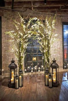 Lanterns and greenery is gorgeous touch to add elegance to your tablescapes and other wedding decor. Heart Wedding Decor would love to work with you and your florist to help your wedding vision come to life. Wedding Arch Rustic, Chic Wedding, Trendy Wedding, Floral Wedding, Wedding Flowers, Small Wedding Decor, Wedding At Home, Back Garden Wedding, Plaid Wedding