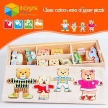 Urso de madeira família vestir Puzzle brinquedos educativos para crianças crianças trocar de roupa vestido mudando presentes criativos DIY(China (Mainland))
